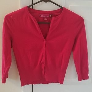 Red button down cardigan 3/4 sleeve size small